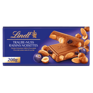 Lindt Tablette Lait Raisins-Noisettes 200g