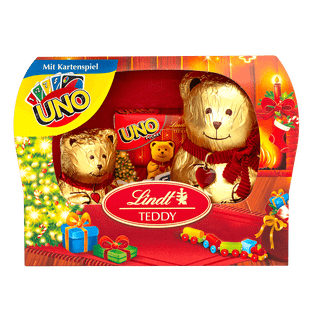 Lindt TEDDY Lait Duo avec jeu de cartes Noël 140g